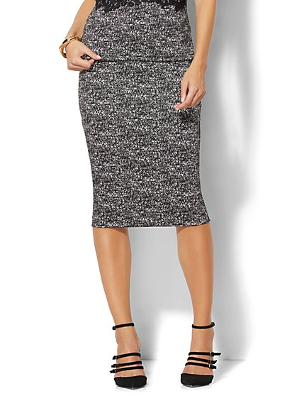 7th Avenue Design Studio - Pull-On Pencil Skirt - Black & White  - New York & Company