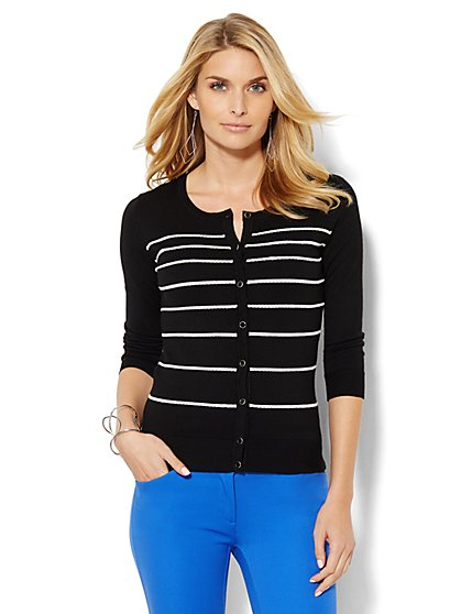 7th Avenue Design Studio - Raised-Stripe Chelsea Cardigan - New York & Company