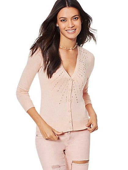7th Avenue Design Studio - Rhinestone V-Neck Chelsea Cardigan - New York & Company