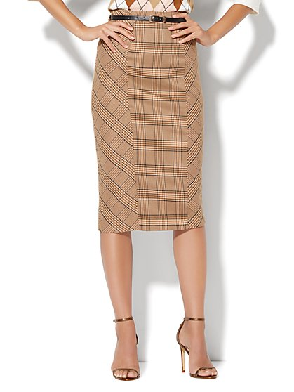7th Avenue Design Studio Ruffle-Back Skirt - Khaki Plaid  - New York & Company