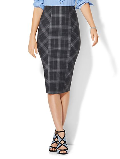 7th Avenue Design Studio Ruffle-Back Skirt - Signature Fit - Grey Plaid - New York & Company