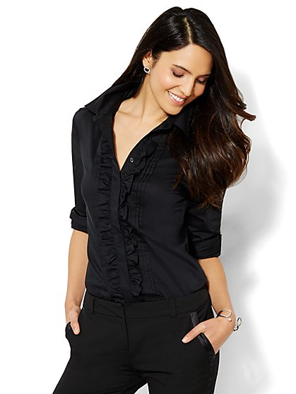 7th Avenue Design Studio - Ruffle-Front Shirt  - New York & Company