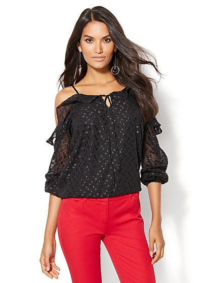7th Avenue Design Studio - Ruffled Cold-Shoulder Blouse  - New York & Company