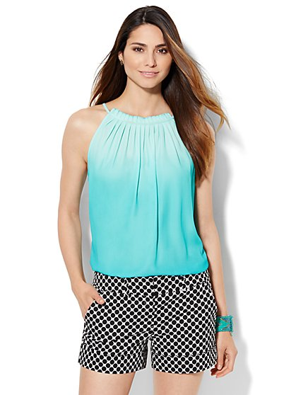 7th Avenue Design Studio - Ruffled Halter Blouse - Ombré - New York & Company