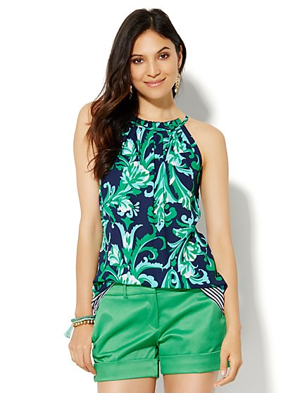 7th Avenue Design Studio - Ruffled Halter Blouse - Print  - New York & Company