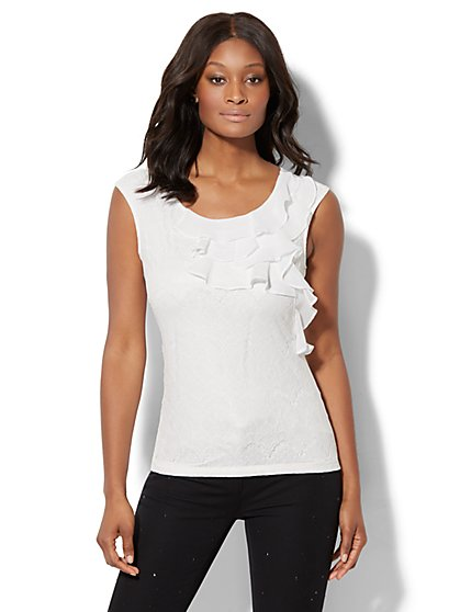 7th Avenue Design Studio - Ruffled Lace Top - White - New York & Company