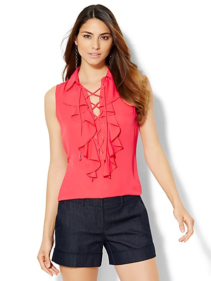 7th Avenue Design Studio - Ruffled Lace-Up Shell  - New York & Company
