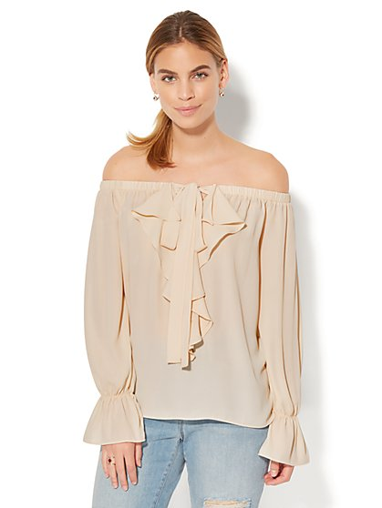 7th Avenue Design Studio - Ruffled Off-The-Shoulder Blouse - New York & Company