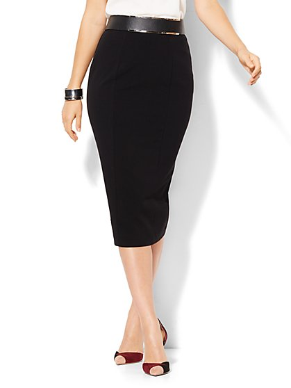 7th Avenue Design Studio - Ruffled Pencil Skirt - Signature Fit - Double Stretch - Petite  - New York & Company