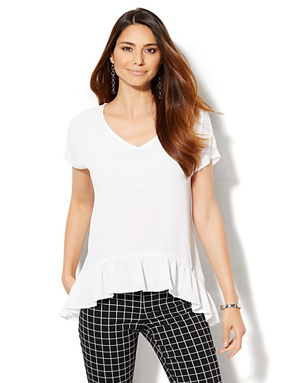 7th Avenue Design Studio - Ruffled V-Neck Blouse - White  - New York & Company