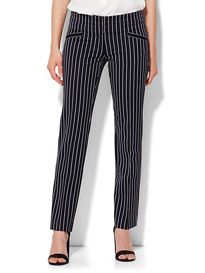 7th Avenue Design Studio Runway Fit Slim Leg Pant - Stripe  - New York & Company