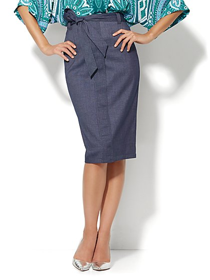 7th Avenue Design Studio - Runway Fit - Tie-Waist Skirt - Grand Sapphire  - New York & Company