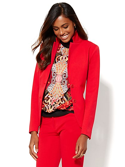 7th Avenue Design Studio Runway SuperStretch - Two-Button Jacket - Flamenco Red          - New York & Company