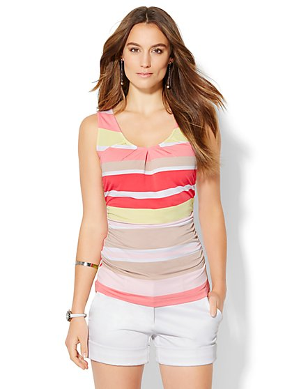 7th Avenue Design Studio Scoopneck Shell - Stripe  - New York & Company