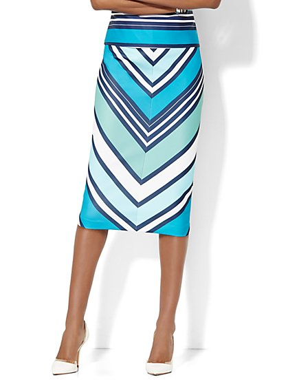 7th Avenue Design Studio Scuba Skirt - Chevron Print  - New York & Company