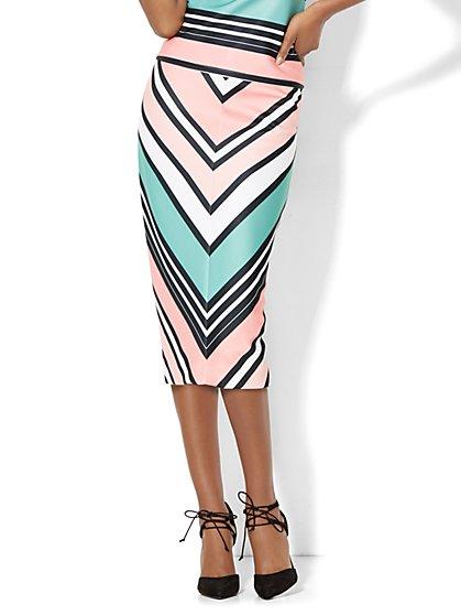 7th Avenue Design Studio Scuba Skirt - Chevron Print  - New York & Company