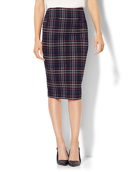 7th Avenue Design Studio - Seamed Pencil Skirt - Plaid  - New York & Company
