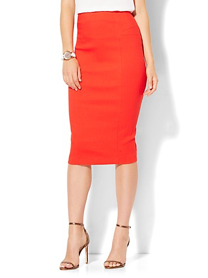 7th Avenue Design Studio - Seamed Pencil Skirt - Runway Fit - Red - New York & Company