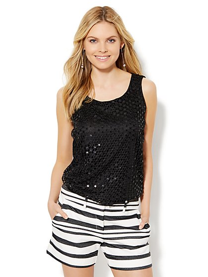7th Avenue Design Studio Sequin-Overlay Shell - Black  - New York & Company