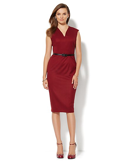 7th Avenue Design Studio Sheath Dress - Red Tweed - Petite  - New York & Company