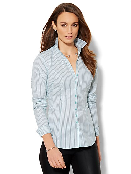 7th Avenue Design Studio - Shimmer Stripe Madison Shirt - Petite  - New York & Company