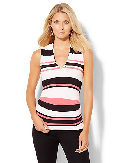 7th Avenue Design Studio - Shirred V-Neck Shell - Stripe  - New York & Company