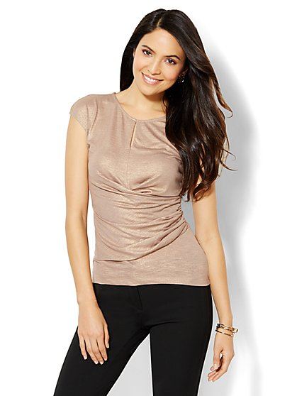 7th Avenue Design Studio - Shirred Wrap Top - Metallic Taupe  - New York & Company