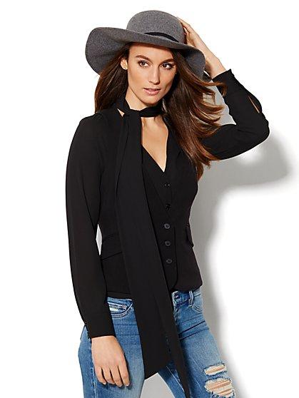7th Avenue Design Studio – Signature Fit Double Stretch Three-Button Vest - Black  - New York & Company