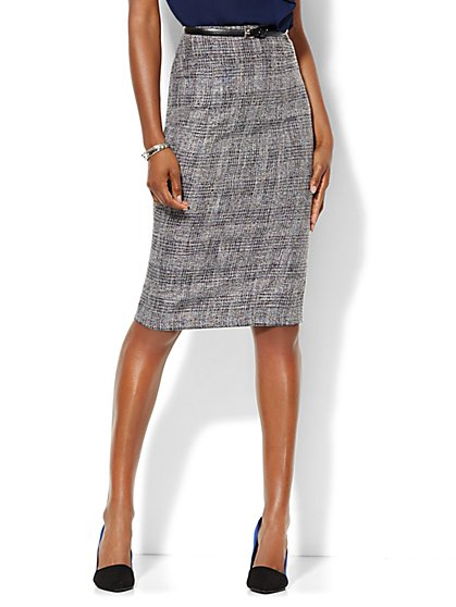 7th Avenue Design Studio - Signature Fit - Pencil Skirt - Black Plaid - Petite  - New York & Company
