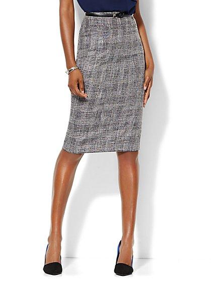 7th Avenue Design Studio - Signature Fit - Pencil Skirt - Black Plaid - Petite  - New York & Company