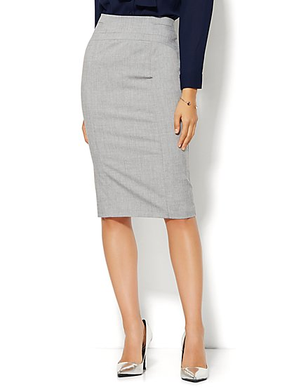 7th Avenue Design Studio - Signature Fit - Pencil Skirt - Grey Whispers - Petite  - New York & Company