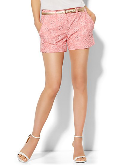 7th Avenue Design Studio Signature Fit Short - Eyelet   - New York & Company