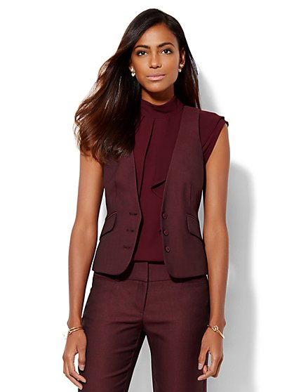 7th Avenue Design Studio – Signature Fit Three-Button Vest - True Burgundy  - New York & Company