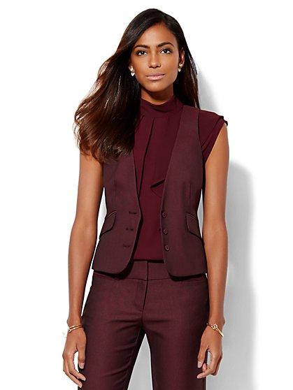 7th Avenue Design Studio – Signature Fit Three-Button Vest - True Burgundy  - New York & Company