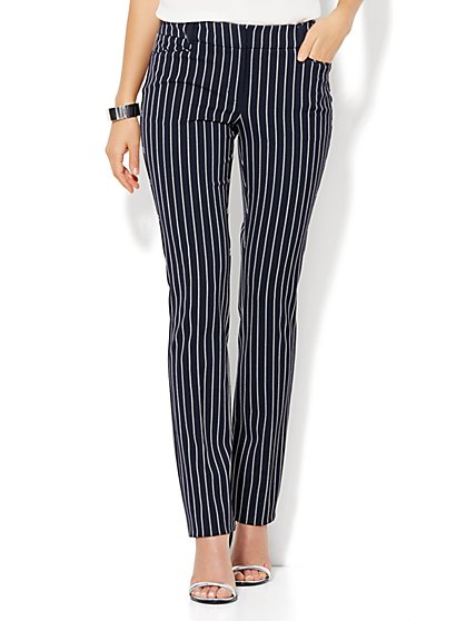 7th Avenue Design Studio - Signature - Universal Fit - Slim-Leg Pant - Navy Pinstripe  - New York & Company