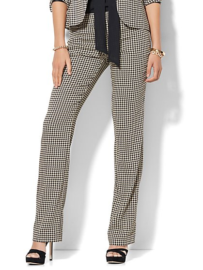 7th Avenue Design Studio - Signature - Universal Fit - Straight-Leg Pant - Houndstooth - Petite  - New York & Company