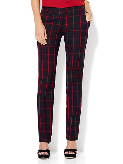 7th Avenue Design Studio - Slim-Leg Pant - Runway - Slimmest Fit - Red - Petite  - New York & Company