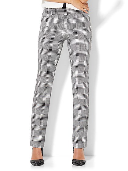 7th Avenue Design Studio - Slim-Leg Pant - Signature - Universal Fit - Black & White Plaid - Tall  - New York & Company