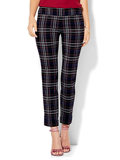 7th Avenue Design Studio - Slim-Leg Pull-On Ankle Pant - Modern - Leaner Fit - Plaid   - New York & Company
