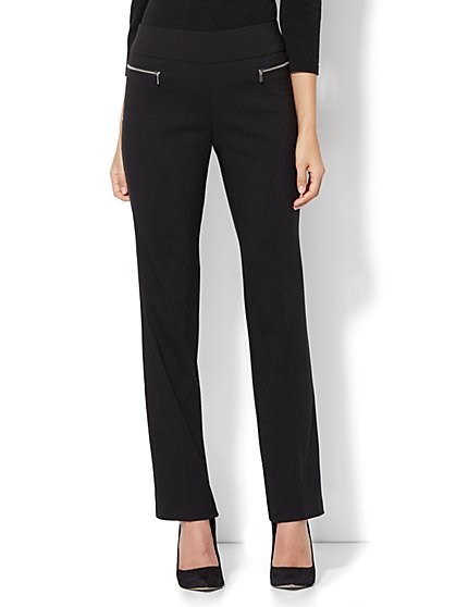 7th Avenue Design Studio - Slim-Leg Pull-On Pant - Modern - Leaner Fit - Ultra Stretch - New York & Company