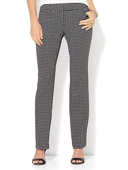 7th Avenue Design Studio - Straight-Leg Pant - Signature - Universal Fit - Black & White  - New York & Company