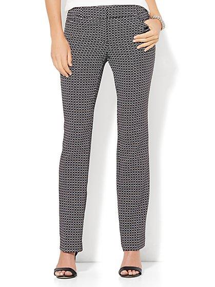 7th Avenue Design Studio - Straight-Leg Pant - Signature - Universal Fit - Black & White  - New York & Company