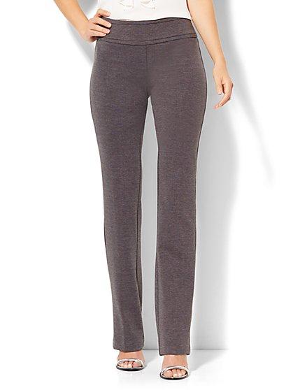 7th Avenue Design Studio - Straight-Leg Pull-On Pant - Signature - Universal Fit - Grey Heather - Ponte - Tall   - New York & Company