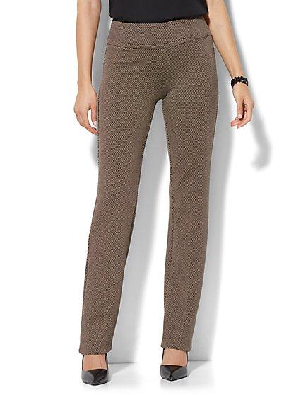 7th Avenue Design Studio - Straight-Leg Pull-On Pant - Signature - Universal Fit - Ponte Print - New York & Company