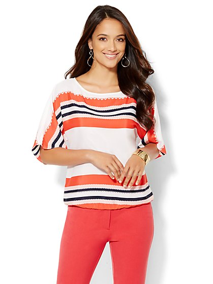 7th Avenue Design Studio - Striped Bateau-Neck Top  - New York & Company