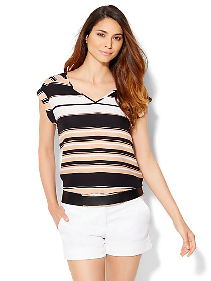 7th Avenue Design Studio - Striped Hi-Lo Tee  - New York & Company
