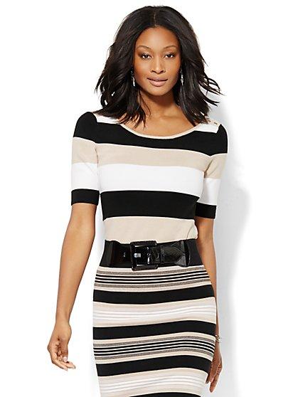7th Avenue Design Studio - Striped Knit Pullover  - New York & Company