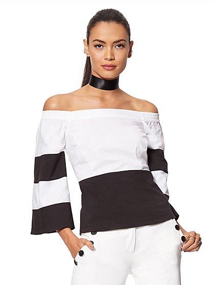 7th Avenue Design Studio - Striped Off-The-Shoulder Shirt - New York & Company