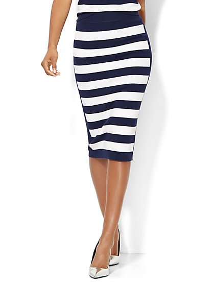 7th Avenue Design Studio Striped Pencil Skirt  - New York & Company