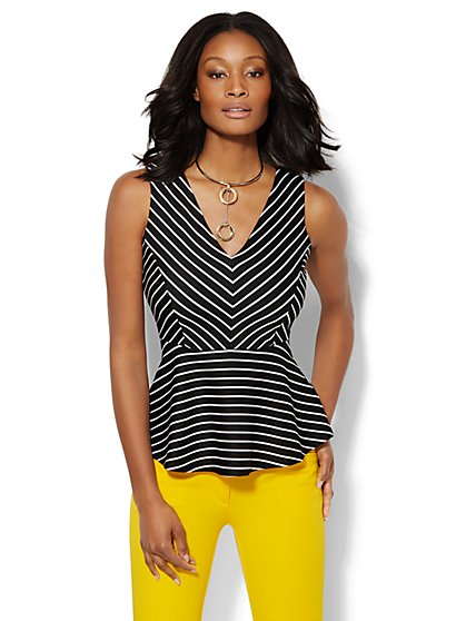 7th Avenue Design Studio - Striped Peplum Top - New York & Company